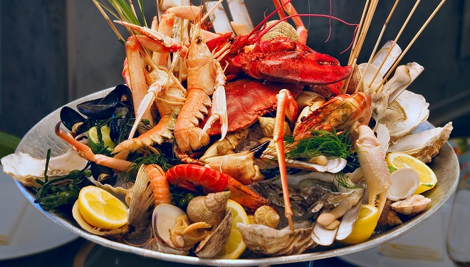 Seafood on the plate