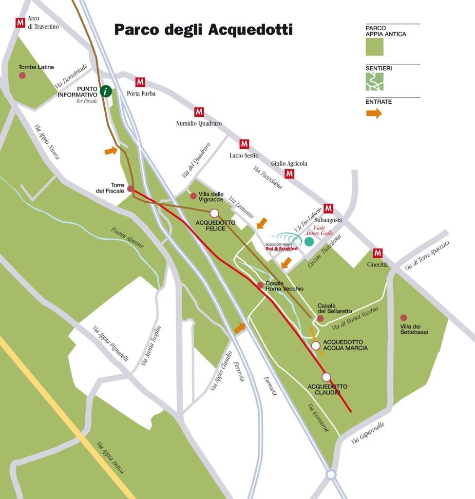 in bici nel parco degli acquedotti
